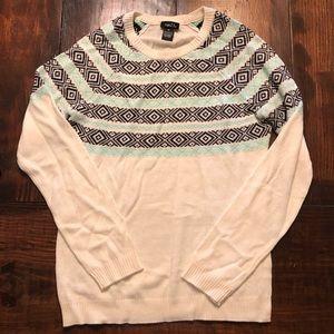 Track, black & white sweater